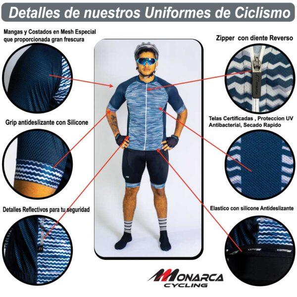 detalles uniformes de ciclismo de hombre