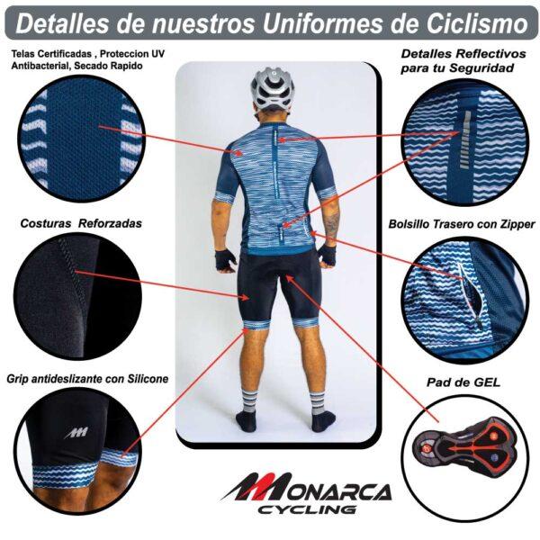 detalles atrás uniforme de ciclismo para hombre